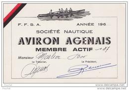 47) AGEN -  SOCIETE NAUTIQUE  - AVIRONS  AGENAIS  - 1960 - (2 SCANS) - Agen