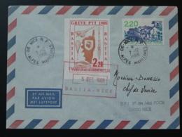 Lettre Avec Vignette De Grève Postale En Corse (thème Concorde Fusée Ariane) 1988 - Staking