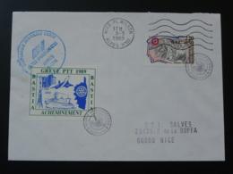 Lettre Avec Vignette De Grève Postale En Corse (thème Concorde Fusée Ariane Rotary) 1989 - Staking