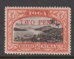 Tonga SG 70 1923 Harbour View 5 Shillings Overptinted Wo Ence Mint - Tonga (1970-...)