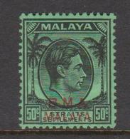 Malaya B.M.A  SG 14 1945 British Military Administration, 50c Black-emerald, Mint Never Hinged - Malaya (British Military Administration)