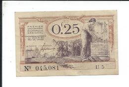 Billet De  0.25 F Ou  25 Centimes  - Chambres De Commerce Du Nord Et Du Pas De Calais 1925 - Zonder Classificatie