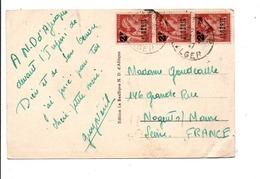 ALGERIE AFFRANCHISSEMENT COMPOSE SUR CARTE DE ALGER  POUR LA FRANCE 1947 - Unclassified
