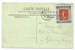 N° 138 PORTE TIMBRE CITRONNA BARBAROUX MARSEILLE GARE 8 MAI 1908  SUR CARTE POSTALE RARE - 1906-38 Sower - Cameo