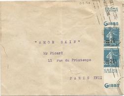 N° 217 PAIRE AVEC DOUBLE PUB CREME GIBBS BEAUTE LETTRE PARIS 17.XI.1935 AU TARIF - 1906-38 Semeuse Camée