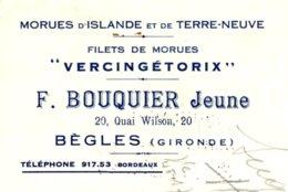 """BOUQUIER  Morues D'Islande & Terre Neuve  """"Vercingétorix""""   BEGLES  (Gironde) 33     3 Fiscaux DA - Bills Of Exchange"""