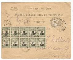 TAXE 60C RECOUVREMENST BLOC DE 10+30C ENVELOPPE SERVICE PTT N°819 PARIS 1926 - Storia Postale