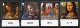 GIBRALTAR (2019). 500th Anniversary Leonardo Da Vinci, Mona Lisa, Last Supper, Virgin Of The Rocks, St. John The Baptist - Gibraltar