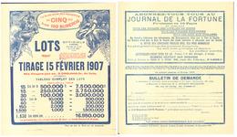 """AFFICHETTE """" LOTERIE OFFICIELS PANAMA """" TIRAGE Du 15 FEVRIER 1907 - Billets De Loterie"""