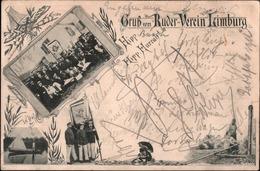 !  Alte Ansichtskarte  Gruß Vom Ruder Verein Limburg, 1899, Rowing, Hessen - Limburg