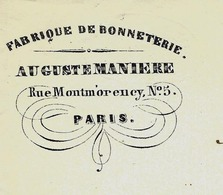 PARIS Rue  Montmorency VIE QUOTIDIENNE MODE  1855 FABRIQUE DE BONNETERIE AUGUSTE MANIERE Pour Hédouin à Rouen - France