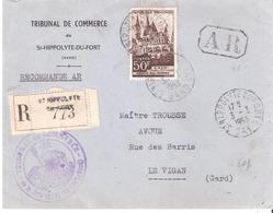 50f.CAEN Seul Sur Lettre Recommandée Oblitéré ST HIPPOLYTE DU FORT Gard - Storia Postale