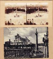 It279 Stereo-Photo ROMA Piazza Del POPOLO Rome Place Du PEUPLE 1890s-1 CPSM Forum TRAJAN 1950 à TURPIN Ernée - Piazze