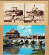 It280 Stereo-Photo ROMA Castel San ANGELO Rome Fort SAINT-ANGE St 1890s + 1CPM 1970s - Altri