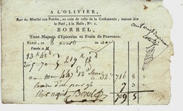 1807 PARIS VIE QUOTIDIENNE A L'OLIVIER Rue Du Marché Aux Poirées épicerie Et Fruits De Provence BORREL Avec  Signature - France