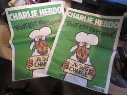"""2 Exemplaires De CHARLIE HEBDO ,,, """"tout Est Pardonné"""",  Tres Petit Prix (lot 468) - Journaux - Quotidiens"""
