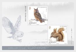 H01 Jersey 2019 Links With China - Woodland Wildlife Miniature Sheet - Jersey