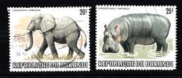 Burundi 1982 Mi Nr  1587 + 1588 , Dieren, Animal, Olifant, Nijlpaard, Elephant, Hippopotamus - Burundi