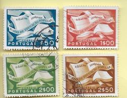 TIMBRES - STAMPS - PORTUGAL - 1954 - CAMPAGNE D'ÉDUCATION POPULAIRE - SÉRIE TIMBRES OBLITÉRÉS - Oblitérés