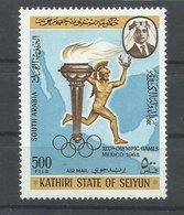 KATHIRI STATE OF  SEIYUN  ,  SELLO OLIMPIADAS   MNH  ** - Verano 1968: México