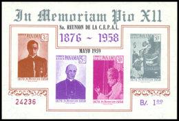 Panama, 1959, Pope Pius, CEPAl, United Nations, MNH Imperforated Overprinted, Michel Block 7 - Panama