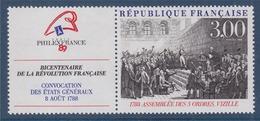 = Bicentenaire De La Révolution Philexfrance89 N°2537 Neuf Avec Vignette Assemblée Des 3 Ordres à Vizille En 1788 - France
