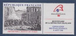 = Bicentenaire De La Révolution Philexfrance89 N°2538 Neuf Avec Vignette La Journée Des Tuiles à Grenoble En 1788 - France
