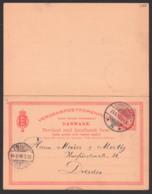 Brevkort Med Forudbetalt Kopenhagen 29.9.1899 Nach Deutschland, Mit Privatem Eindruck, Doppelkarte, Annoncen-Expedition - 1864-04 (Christian IX)