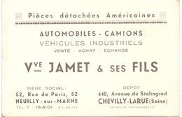 Pub Reclame Kaart Carte - Automobiles Camions Vve Jamet & Ses Fils - Neuilly Syr Marne & Chevilly Larue - Publicités