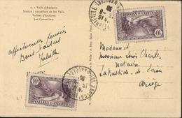 Sur CPA Vallées D'Andorre Les Conseillers YT Vallées D'Andorre Andorre Français N° 28 X2 CAD Andorre La Vieille 15 8 36 - Lettres & Documents