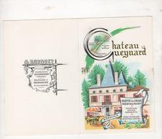 PORTE-MENU HOTEL BAR RESTAURANT CHATEAU GUEYNARD A GAURIAGUET 33 GIRONDE - G. BORDREZ - 25.5 X 20 CM - Menus