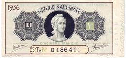Biljet Loterij - Billet Loterie Nationale - 1936 - Billets De Loterie
