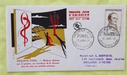 FRANCE Medecine, Philippe PINEL. Yvert N° 1142, FDC, Enveloppe 1 Er Jour 1958 - Medizin