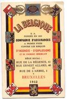 Kalender Calendrier - Assurances La Belgique Bruxelles - 1942 - Calendriers