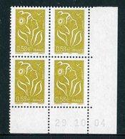 """Bloc De 4 Timbres** Gommés De 2005 """"0,58 € - Type Marianne De Lamouche - ITVF"""" Avec Date 29 . 10 . 04 - Coins Datés"""
