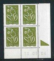 """Bloc De 4 Timbres** Gommés De 2005 """"0,70 € - Type Marianne De Lamouche - ITVF"""" Avec Date 30 . 09 . 04 (avec Bobst) - Coins Datés"""