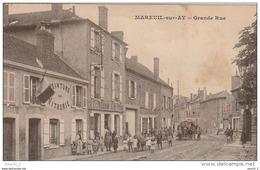EP 25 - (51)  MAREUIL SUR AY -  GRANDE RUE  - VILLAGEOIS , SOLDATS - COMMERCES  - 2 SCANS - Mareuil-sur-Ay