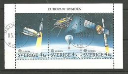 Sweden 1991 Europa: European Space Travel  Mi 1663-1665 In Bloc Cancelled(o) - Gebruikt