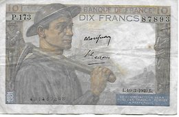 France 10 Francs Mineur 10 - 3 -1949 - - 1871-1952 Anciens Francs Circulés Au XXème