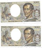 """200 Francs """"Montesquieu"""" 1986 ---Série C043 ET G043 --- SANS TROU D EPINGLE NI COUPURE - 2 BEAUX BILLETS - 1962-1997 ''Francs''"""