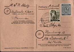 ! 1947 Antwortkarte Schiffweiler, Saarland, Sarre - Zona AAS