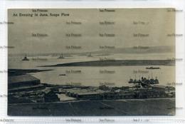 Orkney Kirkwall 1910s Postcard An Evening In June Scapa Flow With RNAS Hatston Seaplane Airship Base Fleet In Bay - Orkney