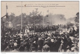 BESANCON  LES FETES DES 14 15 ET 16 AOUT 1909 - DEFILE DE L'ARTILLERIE DEVANT LA STATUE DU GENERAL JEANNIGROS  (2 SCANS) - Besancon