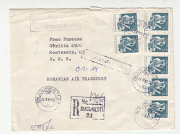 Romania Letter Cover Travelled Air Mail Registered 1989 Bucuresti To Germany DDR B190901 - Cartas