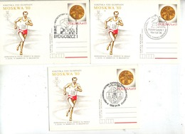 3 Carte Postale 15 Medaille Olympique Cachet Echec Illustré Course - Postwaardestukken