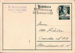 ! 1934 Ganzsache Aus Hannover, Autograph Absender  Dr. Paul Lausterer, Führer Des SS Motorsturms, MWSTPL Saar Abstimmung - Allemagne