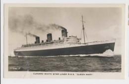 AJ08 Shipping - Cunard White Star Liner R.M.S. Queen Mary - RPPC - Steamers