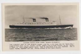 AJ08 Shipping - Cunard White Star Liner Queen Elizabeth - RPPC - Steamers