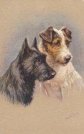 AS90 Animals - Dog - Terriers - Artist Signed Jannie Moody - Dogs