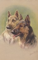 AS90 Animals - Dogs - Alsations - Artist Signed Jannie Moody - Dogs